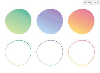 Fototapeta 不規則な形の円、ゆるい円形、丸型、背景素材のイラストセット グラデーションバージョン obraz