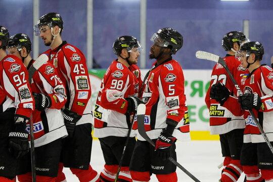 HC Donbass player Jalen Smereck and teammates are seen after Ukrainian Hockey Championship match against HC Kramatorsk in Kramatorsk
