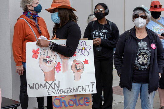 Women's rights advocates participate in the nationwide Women's March,