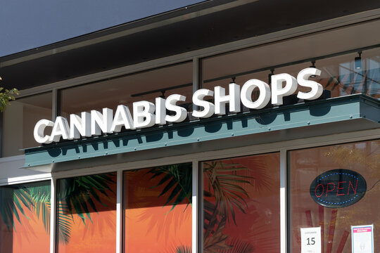Toronto, Canada - October 2, 2021: Close up of cannabis shops sign on the building in Toronto, Canada.