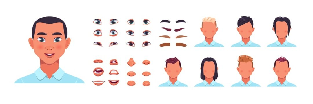 Man face kit. Male avatar constructor kit with hair, nose and lips. Facial shapes and hairstyle templates. Eyes with eyebrows creation. Vector cartoon portrait editable elements set