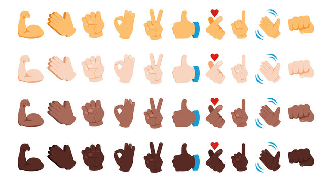 Diverse hand emoji. Various skin color gestures. Black yellow and white thumb up signs. Waving and praying arms emoticons. Peace or OK palm icons. Vector messenger chatting symbols set