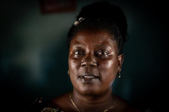 Elderly African black woman real portrait