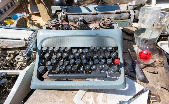 Vintage Hebrew keyboard typewriter for sale at old  flea market