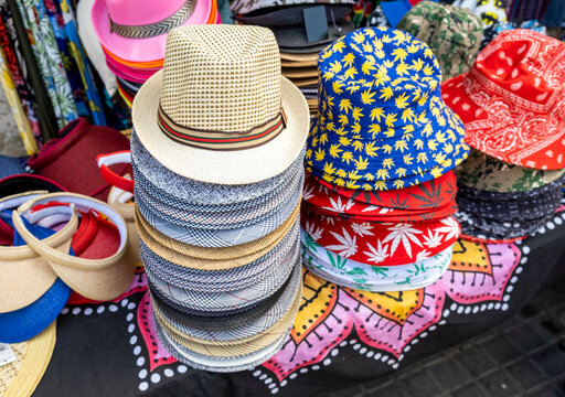 Colorful summer Hats collection for sale at a street market