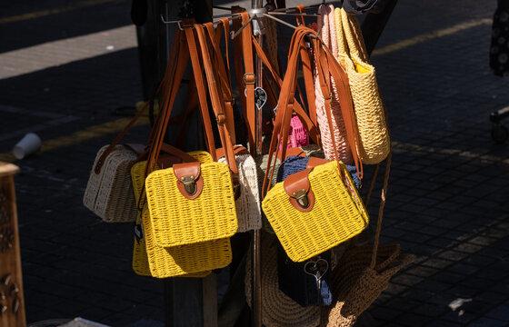 Handmade rectangular bags sold at street market