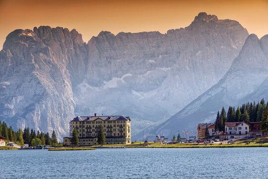 Morning scene of the Lake Misurina, in Italy Alps, Tre Cime Di Lavaredo, Dolomites
