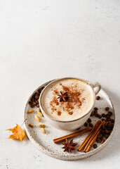 Fototapeta Spice coffee and masala tea winter drink on white background obraz