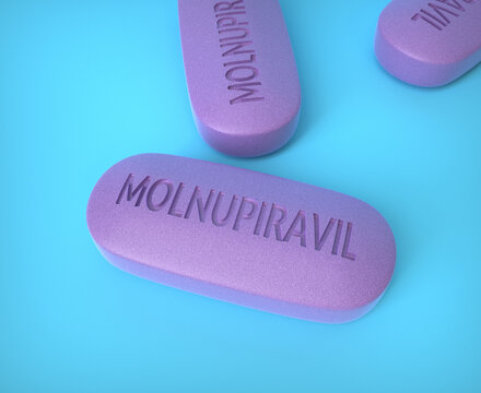 Molnupiravir experimental oral antiviral drug that blocks COVID 19 Coronavirus in 24 hours New study.  Pill of therapy treatment drug for Corona virus