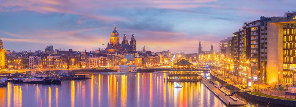 Amsterdam downtown city skyline cityscape of Netherlands