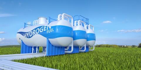 Obraz Hydrogen storage tanks.  - fototapety do salonu