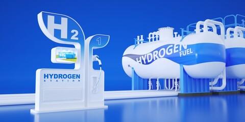 Obraz Supply hydrogen for vehicles. Hydrogen storage tanks.  - fototapety do salonu