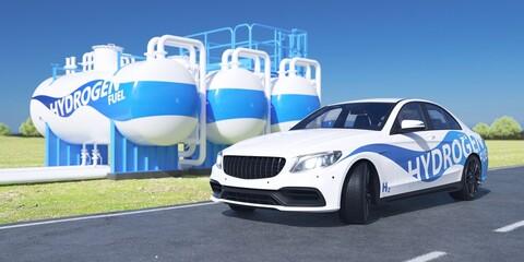 Fototapeta Hydrogen car parked with hydrogen tanks.  obraz