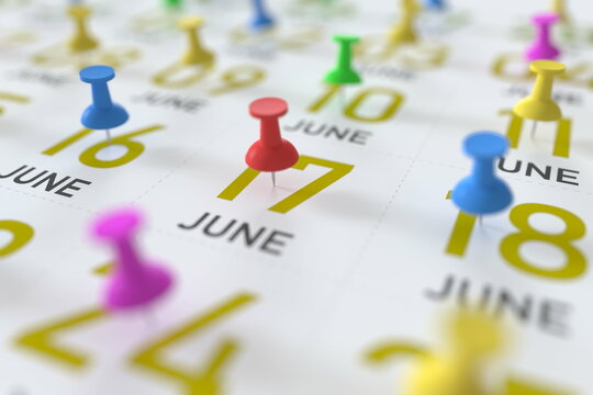 June 17 date and push pin on a calendar, 3D rendering