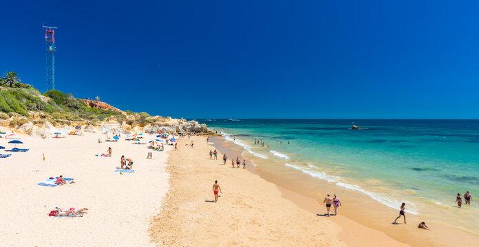 Panoramic aerial view of Praia Da Gale beach, near Albufeira and Armacao De Pera, Algarve, Portugal