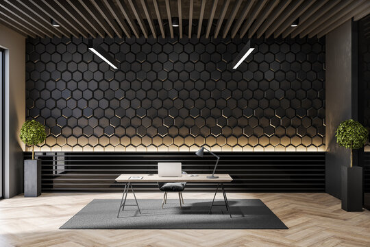 Modern workplace interior with concrete hexagonal walls and decorative items. 3D Rendering.