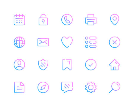 User interface line icons. Basic UI pictograms. Set of modern outline symbols collection. Minimal thin line design. Trendy gradient style graphic elements. Vector line icons set