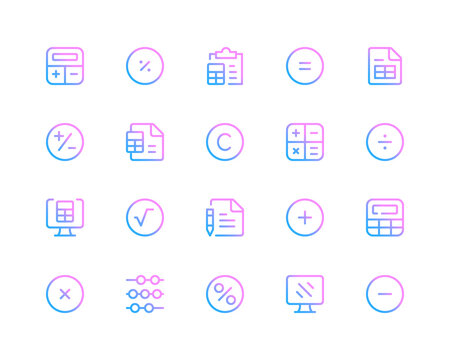 Calculation line icons. Calculator pictograms. Set of modern outline symbols collection. Minimal thin line design. Trendy gradient style graphic elements. Vector line icons set