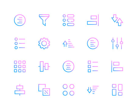 Sort line icons. Sorting, filter pictograms. Set of modern outline symbols collection. Minimal thin line design. Trendy gradient style graphic elements. Vector line icons set