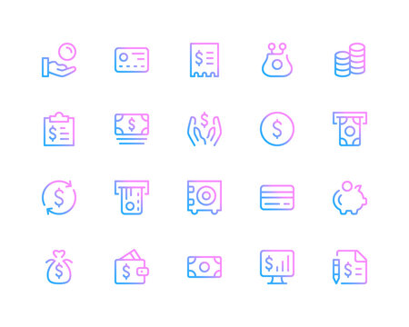 Finance line icons. Financial concepts, money pictograms. Set of modern outline symbols collection. Minimal thin line design. Trendy gradient style graphic elements. Vector line icons set