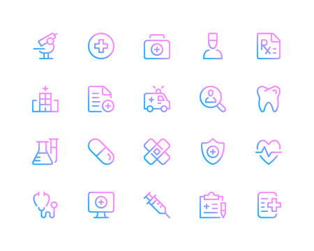 Medical line icons. Healthcare concepts, medicine pictograms. Set of modern outline symbols collection. Minimal thin line design. Trendy gradient style graphic elements. Vector line icons set
