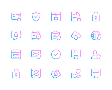Data protection line icons. Computer security, cybersecurity concepts. Set of modern outline symbols collection. Minimal thin line design. Trendy gradient style graphic elements. Vector line icons set