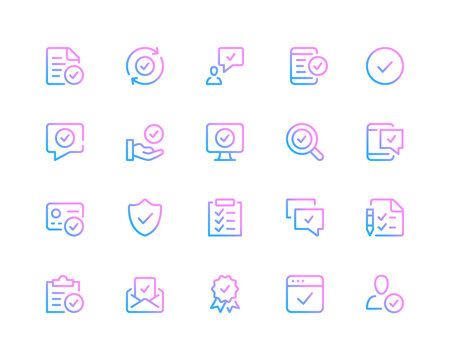 Check mark line icons. Approve concepts, tick pictograms. Set of modern outline symbols collection. Minimal thin line design. Trendy linear gradient style graphic elements. Vector line icons set