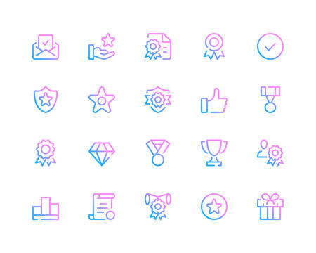Award line icons. Quality concepts, trophy, medal pictograms. Set of modern outline symbols collection. Minimal thin line design. Trendy linear gradient style graphic elements. Vector line icons set