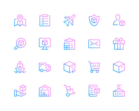 Shipping line icons. Delivery concepts, logistics pictograms. Set of modern outline symbols collection. Minimal thin line design. Trendy linear gradient style graphic elements. Vector line icons set