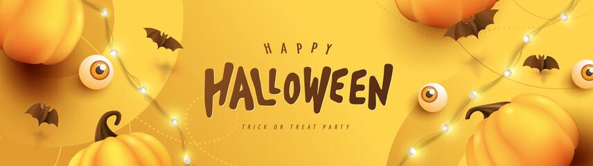 Fototapeta Happy Halloween banner or party invitation background with pumpkins Festive Elements Halloween obraz