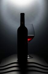 Fototapeta Bottle and glass of red wine. obraz