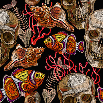 Ttropical sea. Gothic embroidery. Skull, colorful fishes, corals and shells. Seamless pattern. Underwater treasure. Fashion template for clothes, t-shirt design
