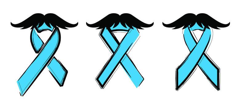 Cartoon, Men's health awareness, blue ribbon ( mustache ), medical symbol for prostate cancer month in november. World diabetes day, diabetic ribbons. Vector banner.