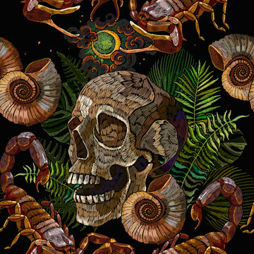 Ammonite fossil, scorpion, skull and palm leaves. Gothic concept. Template for clothes, print. Seamless pattern. Embroidery style. Ancient tropical forest