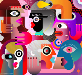 Large Group of Diverse PeopleLarge group of various people abstract modern art vector illustration. Portrait of six strange adult persons.