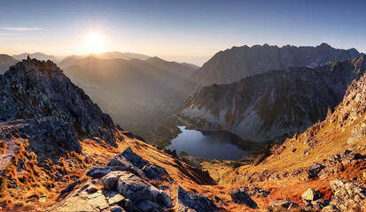 Fototapeta Mountain sunset autumn Tatra landscape, Slovakia and Poland obraz