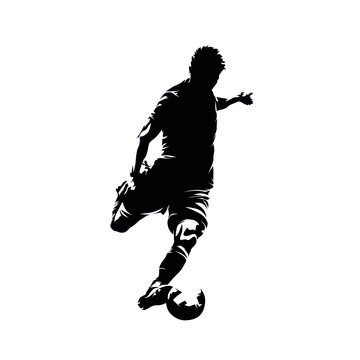 Soccer player kicking ball, footballer shoots and scores a goal, isolated vector silhouette, ink drawing, front view