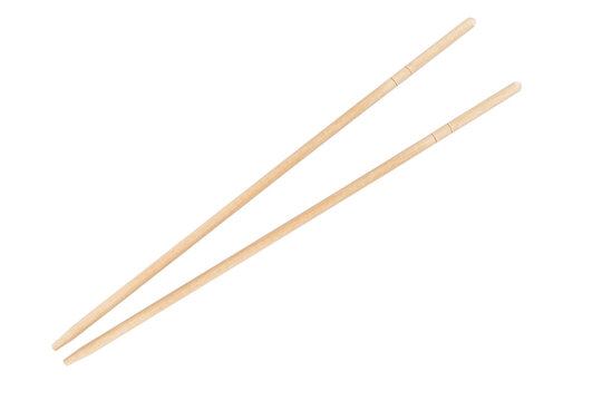 Sushi chopsticks isolated on a white background. Wooden pairs of chopsticks isolated.