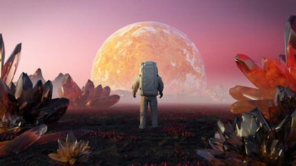 Fototapeta astronaut on alien planet, beautiful exoplanet landscape with giant crystals obraz