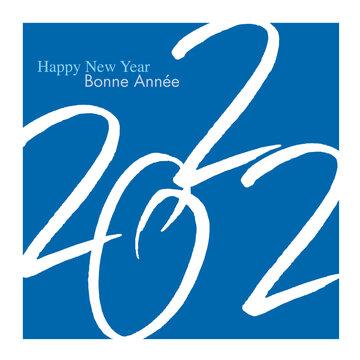 Composition graphique pour une carte de voeux élégante de format carré, avec l'année 2022 qui s'inscrit en blanc sur un fond bleu.