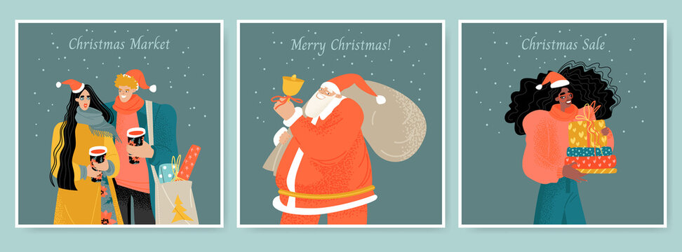 A set of cards for the Christmas market with Santa Claus, a girl with gifts and a couple with mulled wine