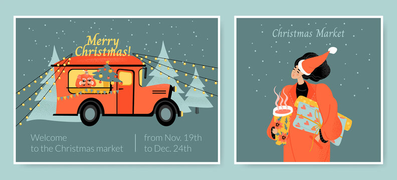 Vector card templates for the Christmas market with a food truck and a girl with gifts and mulled wine