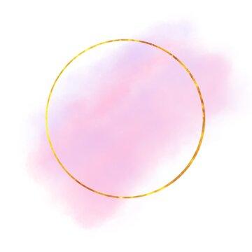 golden circle frame on soft pink label background
