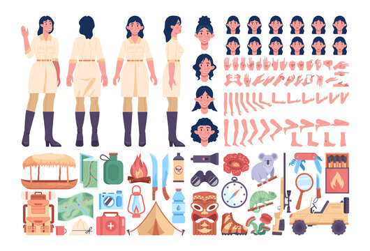 Jungle expedition female guide set. Touristic and hiking items. Jungle animals
