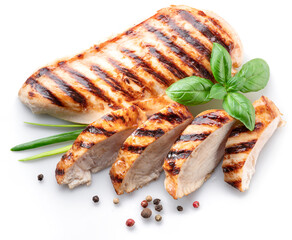 Fototapeta Grilled chicken fillet with herbs isolated on white background. obraz