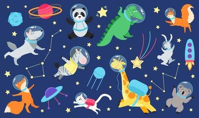 Fototapeta premium Cartoon space animals. Cute astronaut animal in costume, universe travel on spaceship. Kids stickers, children dream cosmos adventures decent vector set