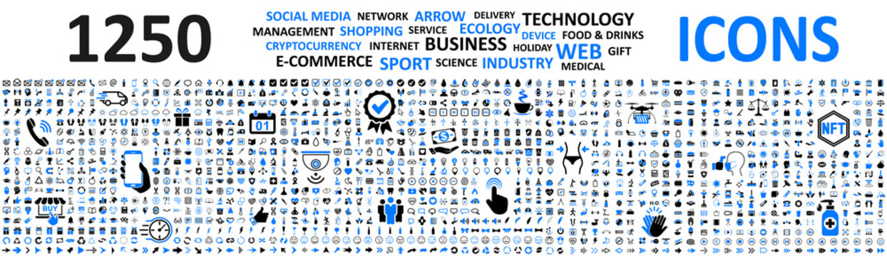 Big set 1250 icons: business, shopping, device, technology, medical, ecology, crypto, e-commerce, social media, management, arrow, food & drink and many more for any cases of life using – vector
