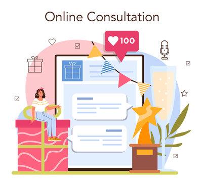 Event management online service or platform. Holiday, ceremony