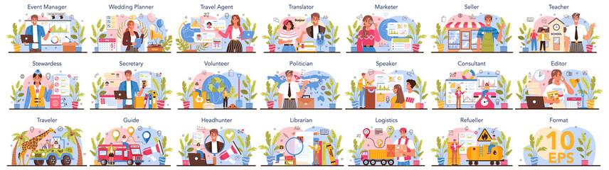 Fototapeta Humanitarian profession set. Business and social profession. Business, retail obraz