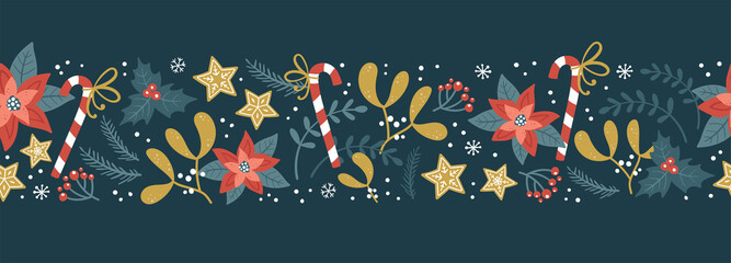 Fototapeta Lovely hand drawn Christmas seamless pattern, cute greenery, flowers and snowflakes, great for textiles, wrapping, banners, wallpapers - vector design obraz